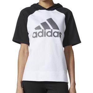 ADIDAS Polka Dot Logo Short Sleeve Hoodie